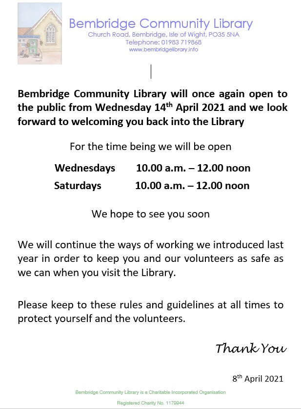 2021.04.09 - Bembridge Library Re-Opening